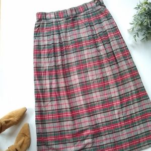 Orvis • red tartan plaid A-line midi maxi skirt